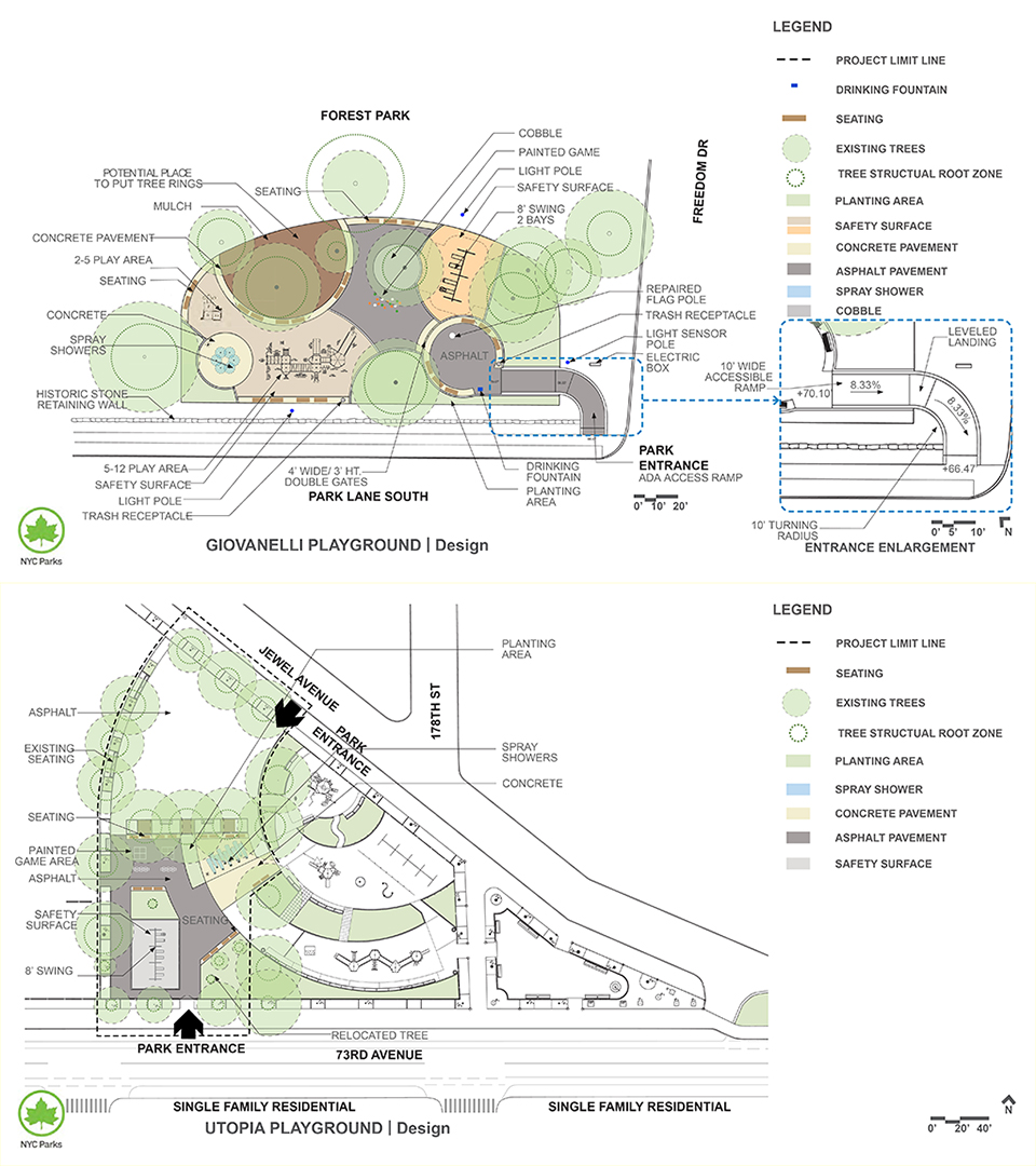 Design of Austin, Giovanelli, and Utopia Playgrounds Reconstruction