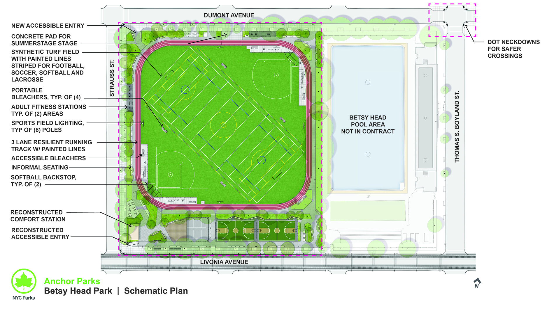 Design of Betsy Head Park Synthetic Turf Field, Track, Sport Courts and Adult Fitness Area Construction