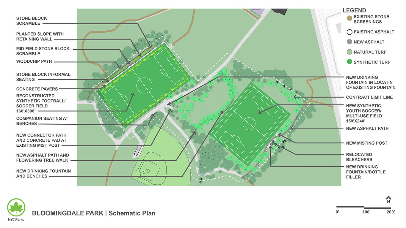 Design of Bloomingdale Park Synthetic Turf Field Construction