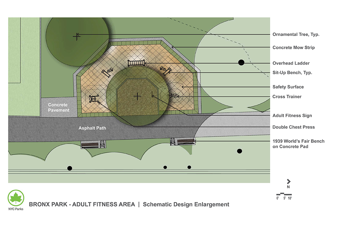 Design of Bronx Park Adult Fitness Equipment Construction