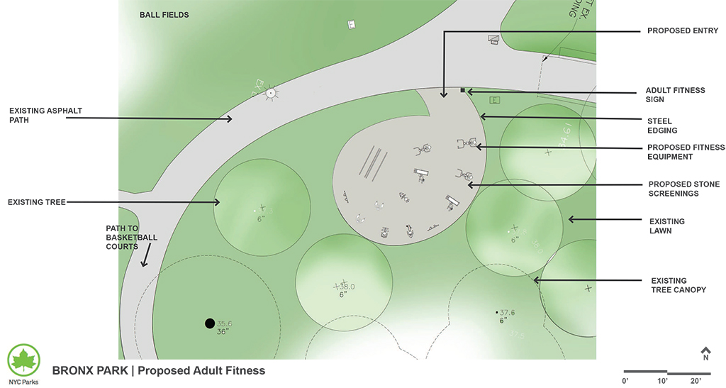 Design of Bronx Park Brady Playground Adult Fitness Equipment Construction
