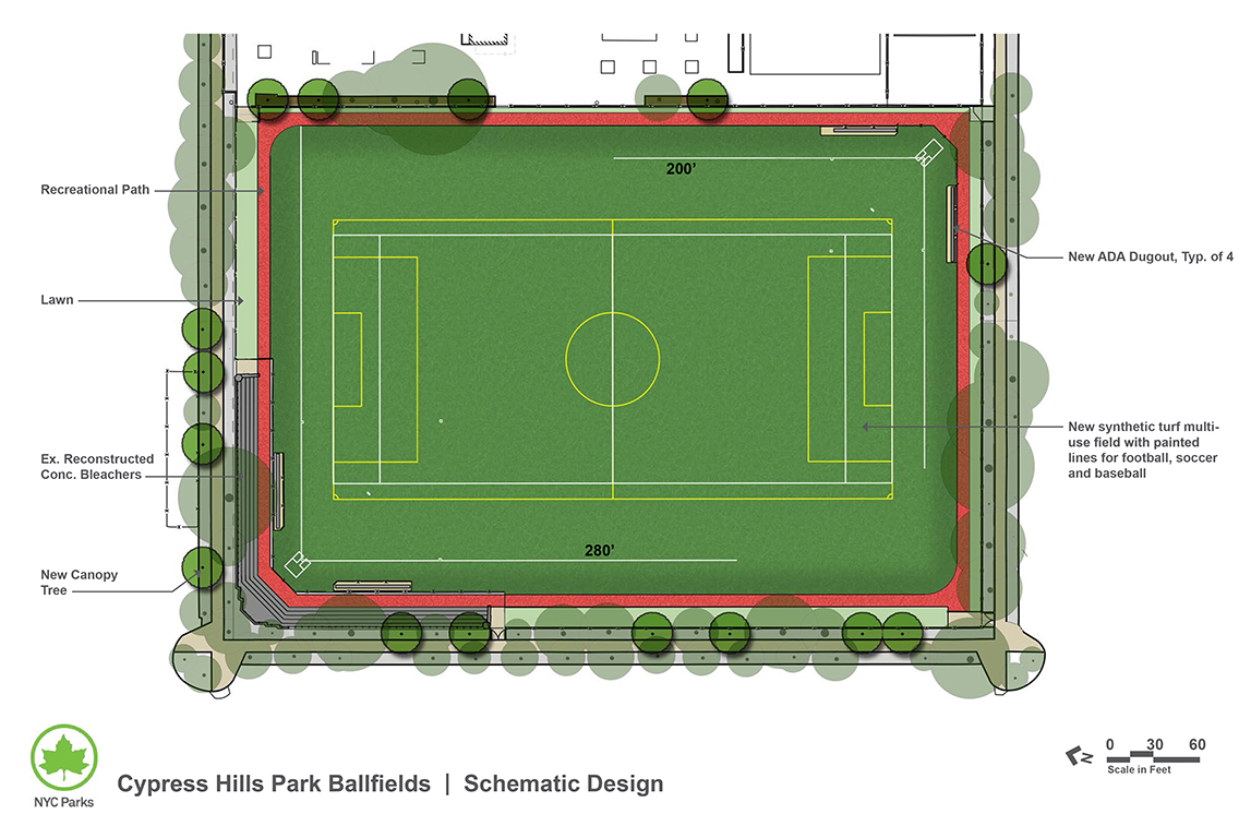 Design of Cypress Hills Playground Synthetic Turf Field Construction