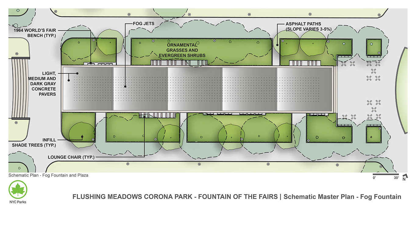 Design of Flushing Meadows Corona Park Fountain of the Fairs Reconstruction