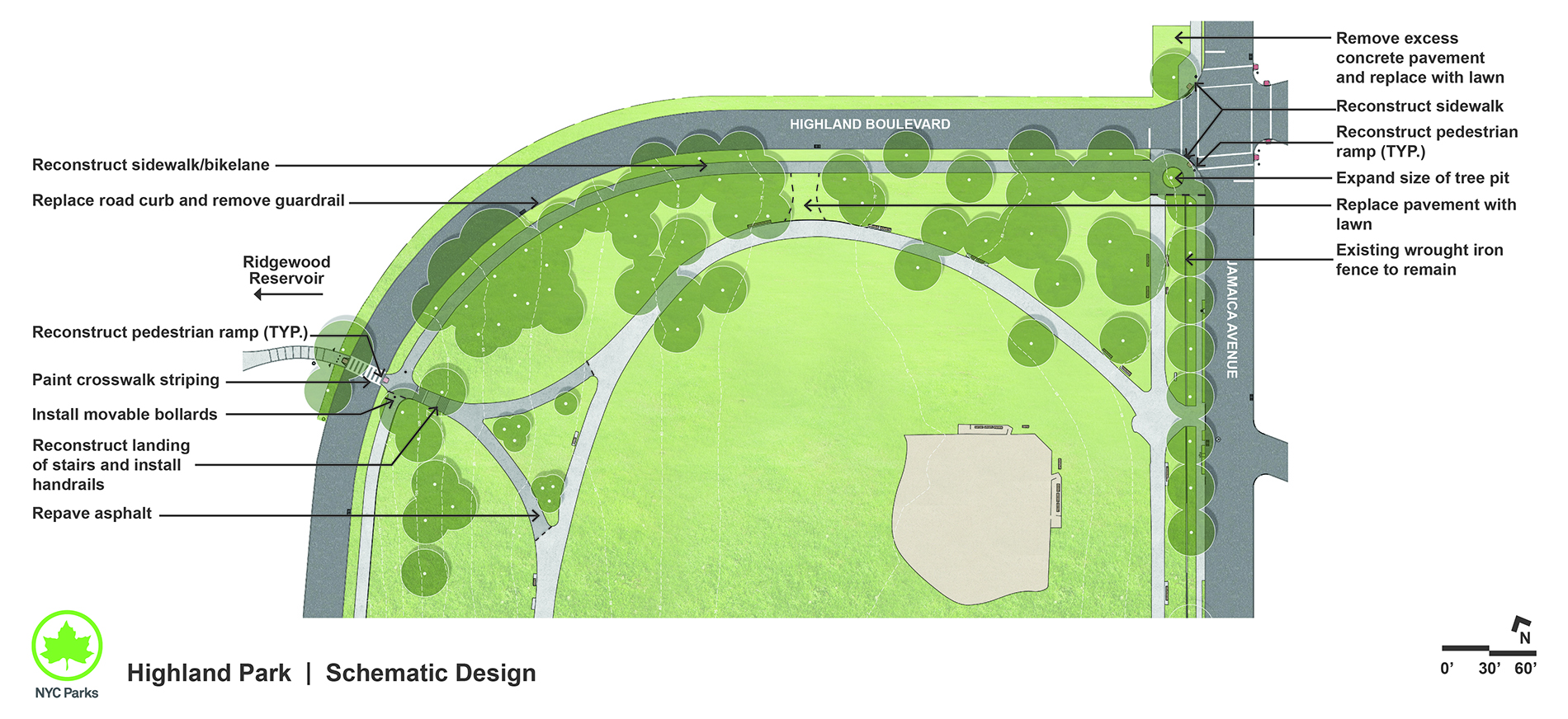 Design of Highland Park Pedestrian Paths and Sidewalks Reconstruction