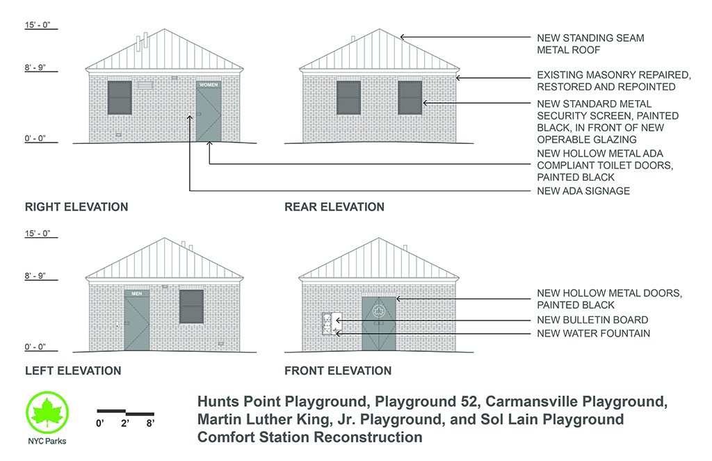 Design of Hunts Point, Playground 52, Carmansville, MLK, and Sol Lain Playgrounds Comfort Station Reconstruction