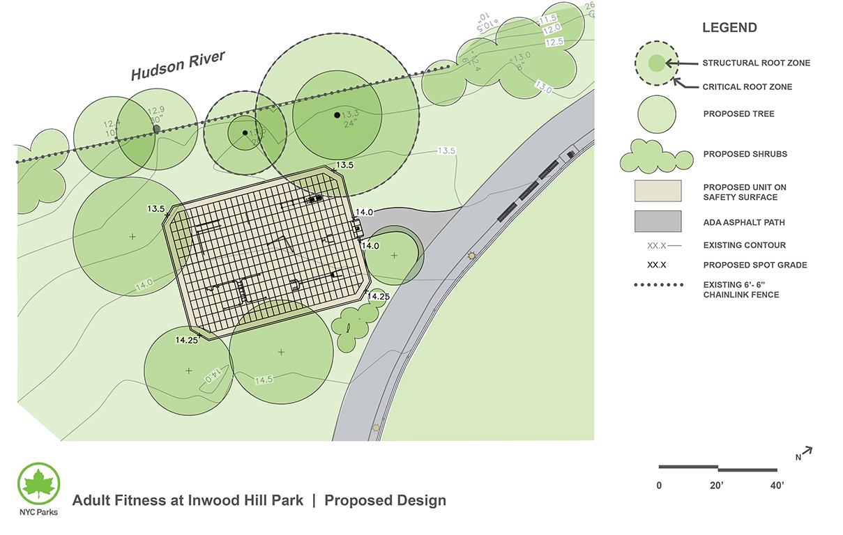 Design of Inwood Hill Park Adult Fitness Equipment Construction