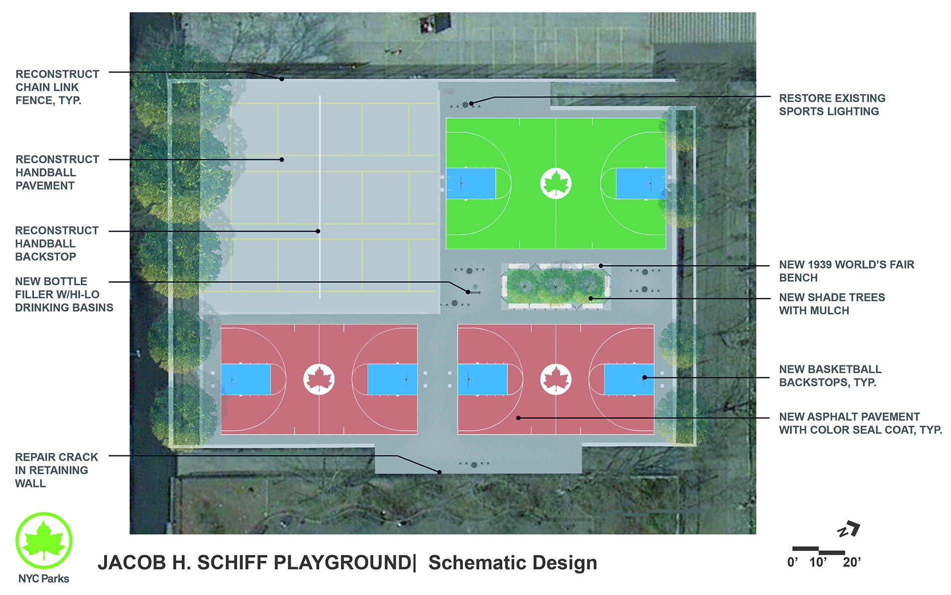 Design of Jacob H. Schiff Playground Basketball and Handball Courts Reconstruction