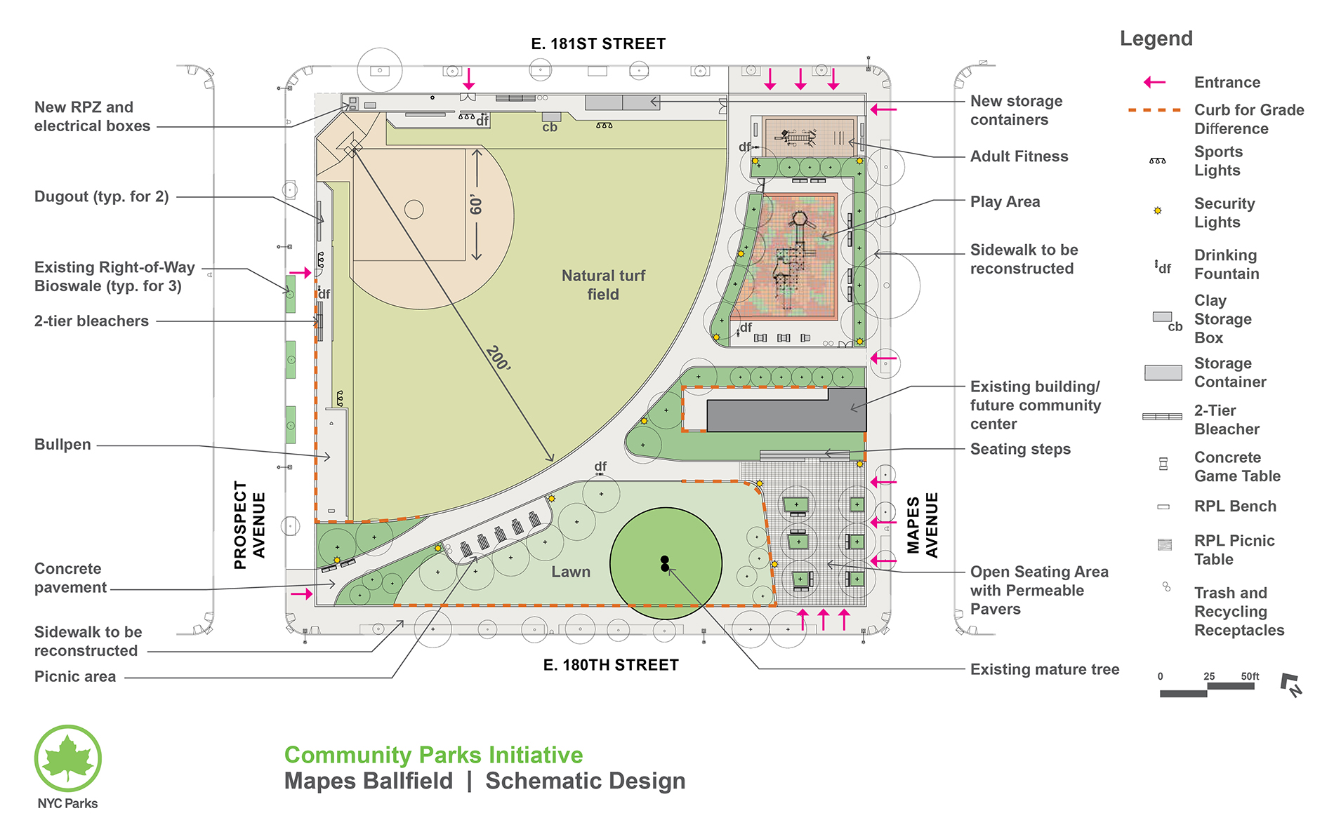 Design of Mapes Ballfield Reconstruction