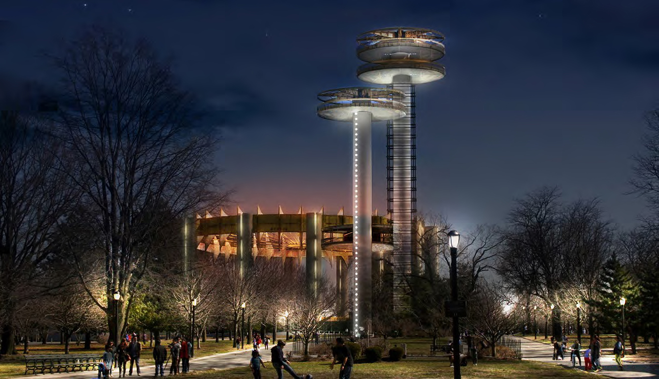 Design of New York State Pavilion Observation Towers Reconstruction