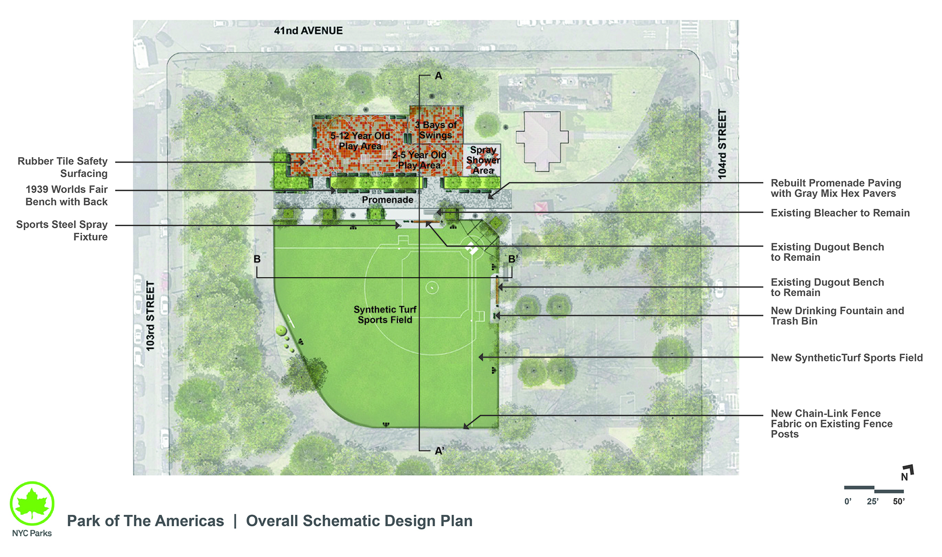 Design of Park of the Americas Synthetic Turf and Playground Reconstruction