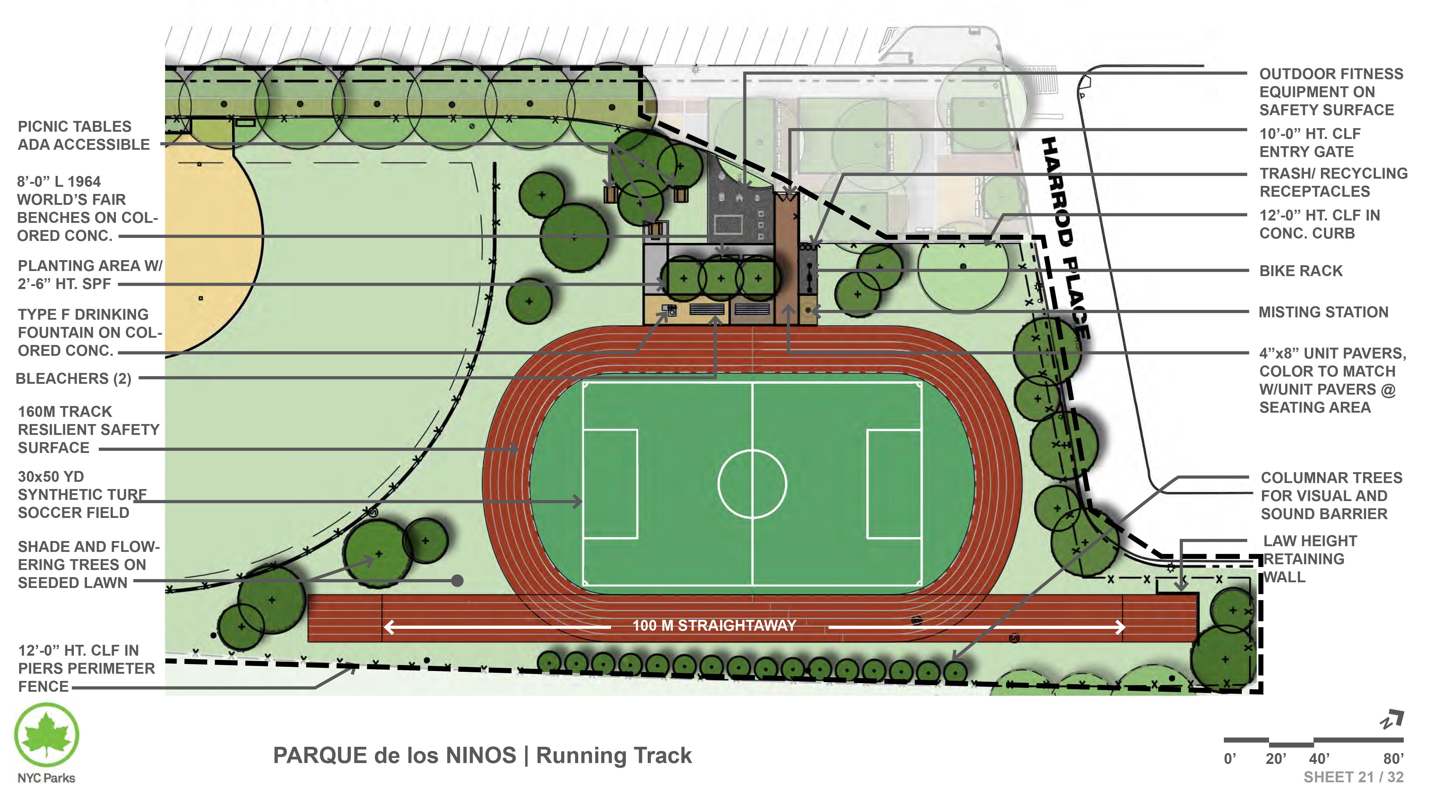 Parque De Los Ninos Softball Field And Running Track