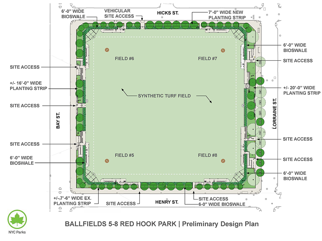 Design of Red Hook Recreation Area Ballfields 5-8 Reconstruction