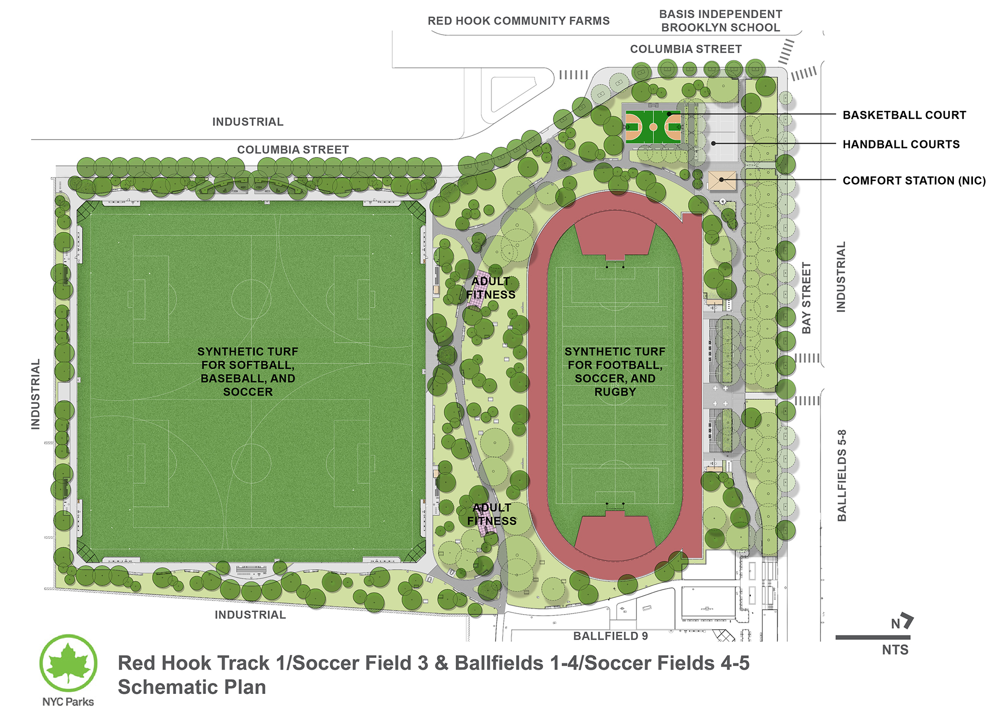 Design of Red Hook Recreation Area Track 1, Soccer Fields 3-5, and Ballfields 1-4 Reconstruction