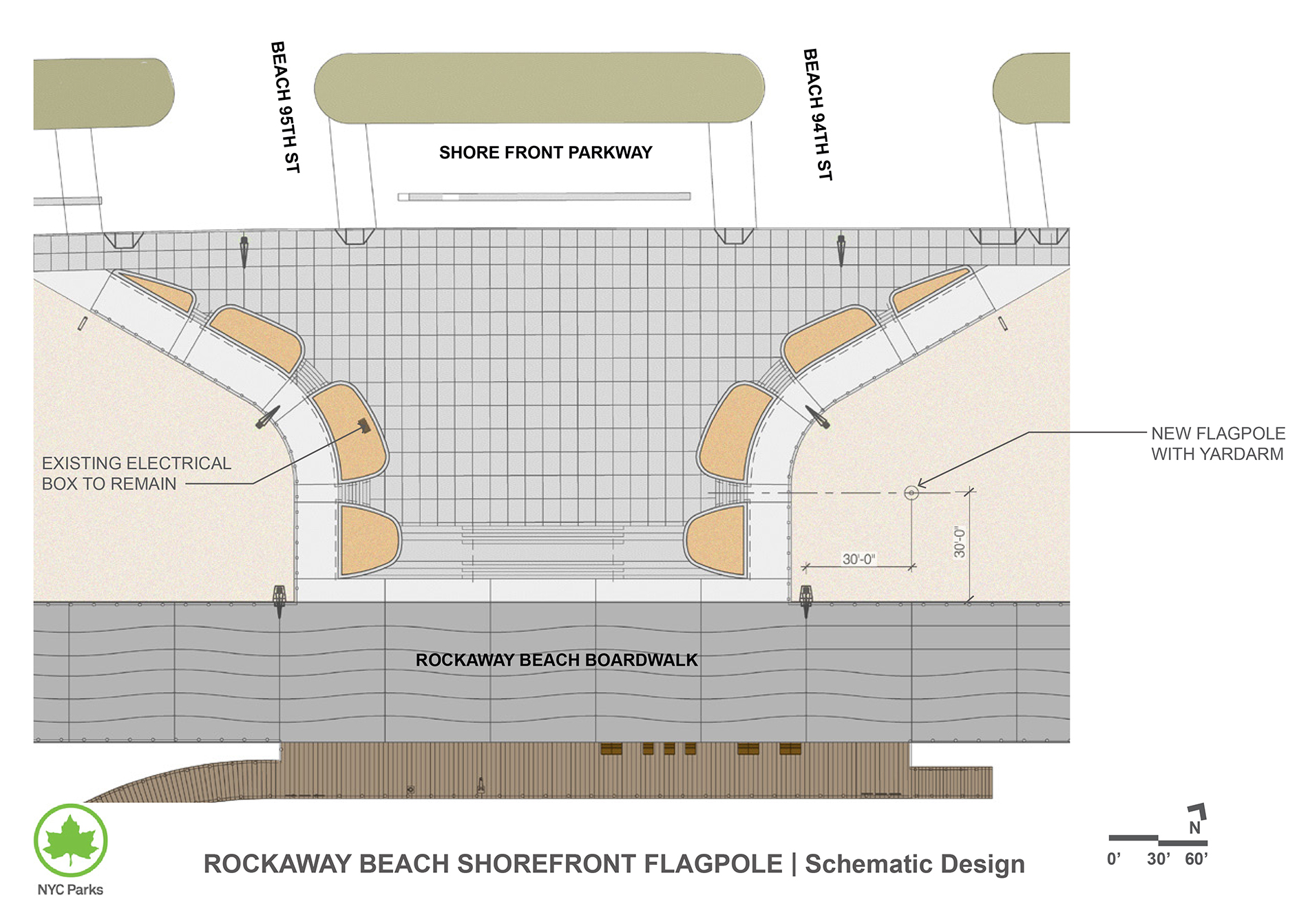 Design of Rockaway Beach Shore Front Flagpole Construction
