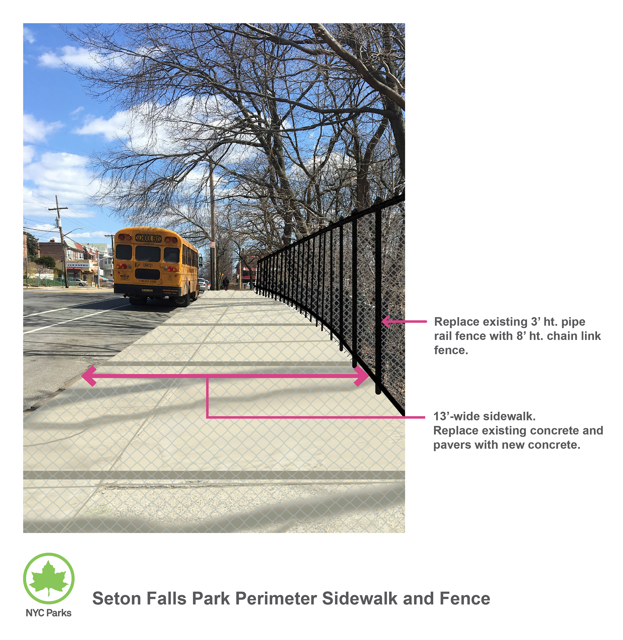 Design of Seton Falls Park Sidewalk and Fence Reconstruction