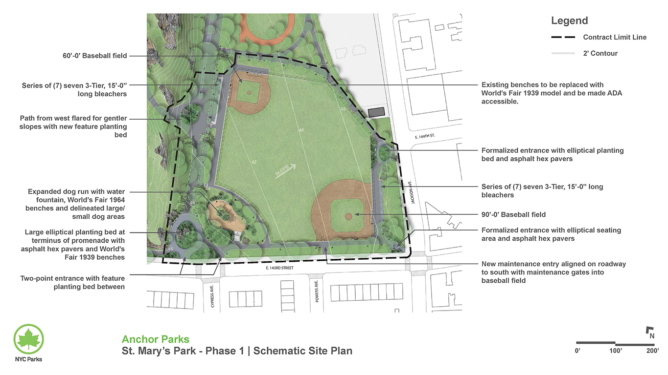 Design of St. Mary's Park Ballfields and Dog Run Reconstruction