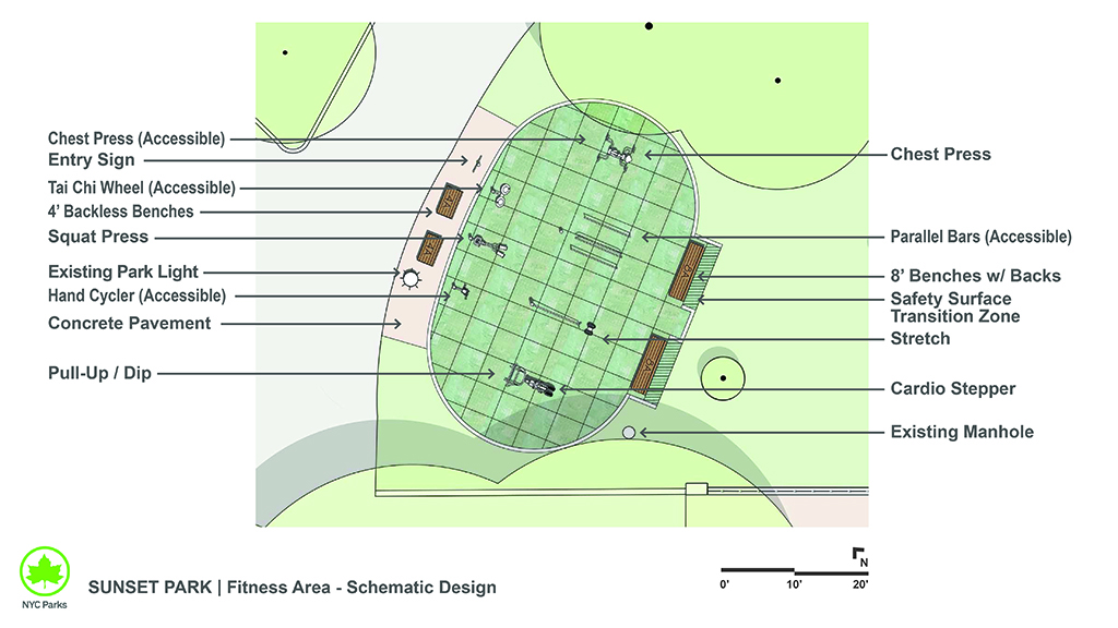 Design of Sunset Park Adult Fitness Area Construction