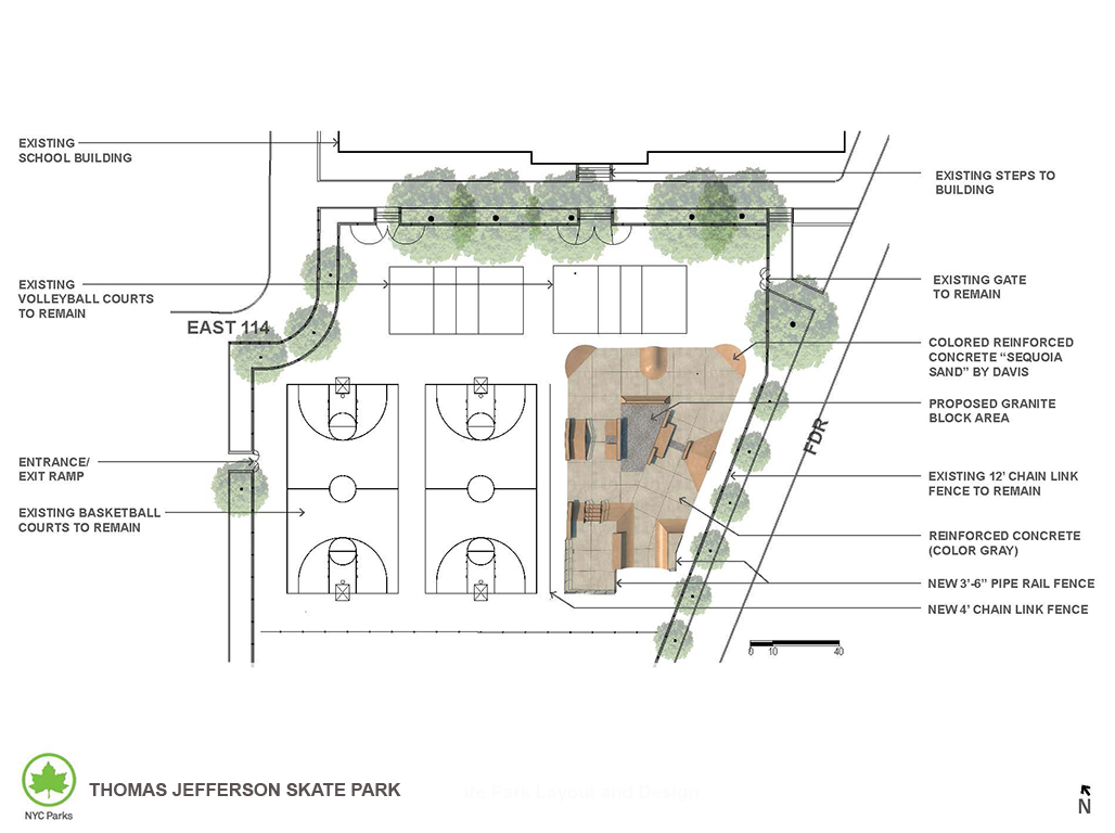 Design of Thomas Jefferson Park East Harlem Skate Park Construction