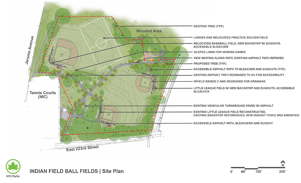 Design of Van Cortlandt Park Indian Fields Ballfields Reconstruction